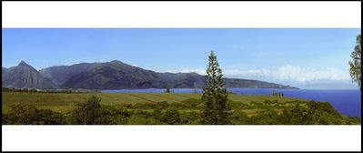 Panoramic ocean/sunset view w/coastline, west Maui mountains, & famous Hookipa