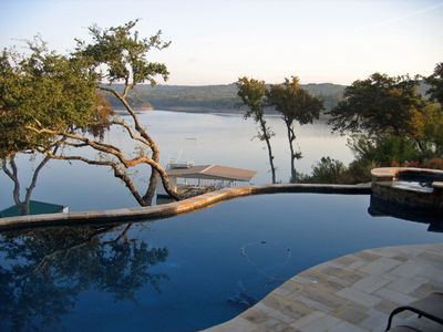 View from the swimming pool and hot tub overlooking Lake Travis