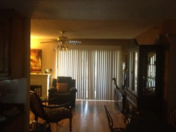 View from dining room into living room