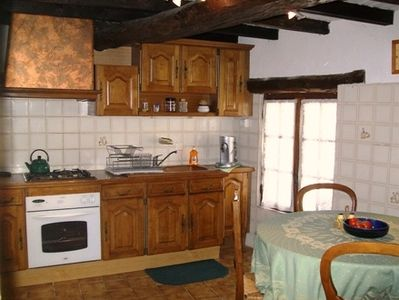 Fully stocked and charming Provencal kitchen.