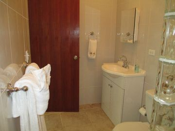 Clean, white bathroom with fluffy towels and hand held shower head.