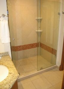 Luxurious granite countertops in kitchen and bath and tile shower enclosure