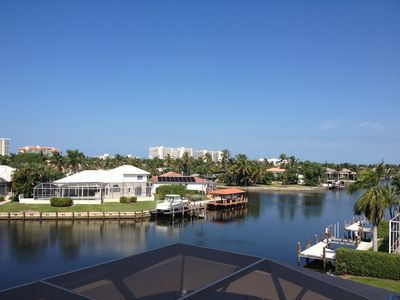 View of lagoon from 3rd floor observation deck -spot manatees & dolphins.