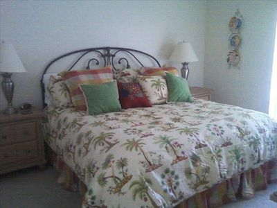 Master bedroom with king-size bed and private bathroom, cable TV, walk-in closet