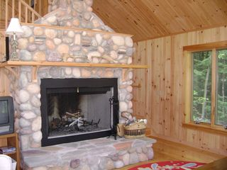Porter cottage photo - Huge Fieldstone Fireplace