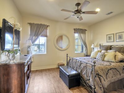 Casita Suite w/ fine linens, flat screen tv, attached bath, living area, & patio