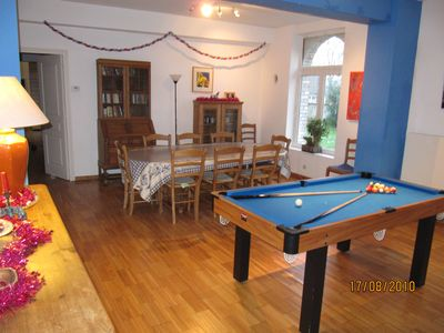 Sorrus farmhouse rental - Dining room with pool table