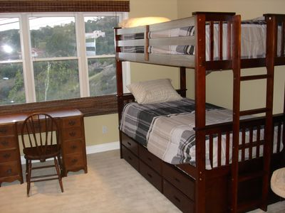 Bunk beds, with slide-out trundle bed for a 7th person if necessary
