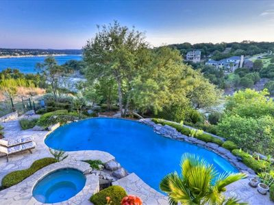 Take in the delightful views of the hill country, the lake, pool & spa!
