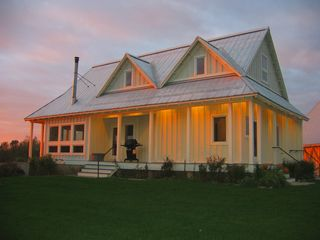 New Glarus house photo - Sunset on the side porch.