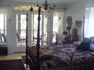 Kennebunkport cottage photo - Master bedroom with porch entrance