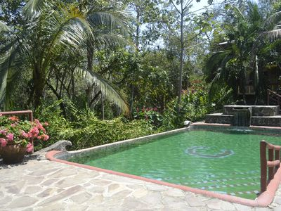Pool and whirlpool surrounded by lush gardens and jungle.  Enjoy animal watching