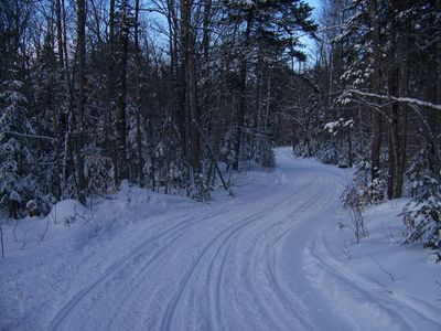 The groomed snowmobile trail, right through the woods, behind the house.