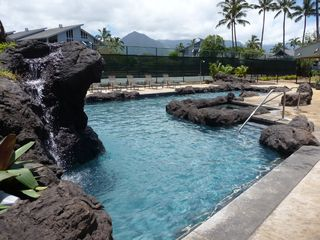 Princeville condo photo - Lovely pool area with waterfalls and jacuzzi.