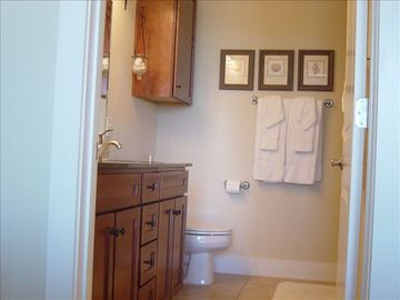 Master Bath. Dual sinks and walk in tile shower