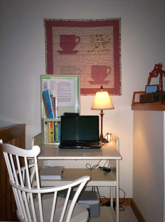 Office Nook with Compaq Presario Laptop and HP Printer/Photocopier