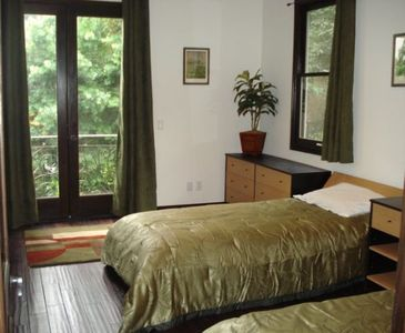 Bedroom 5- Has 2 Twin Beds w/View of Trees and Pool