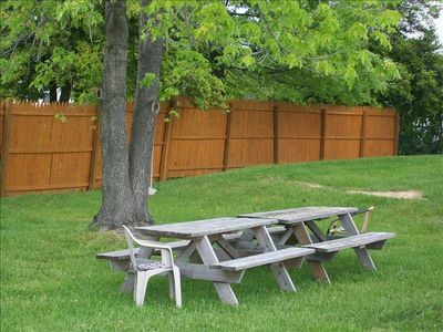 Picnic tables under the shade tree with tree swing in the big backyard