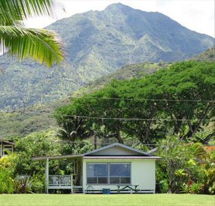The mountains and waterfalls of Hanalei are the backdrop for the beach house.