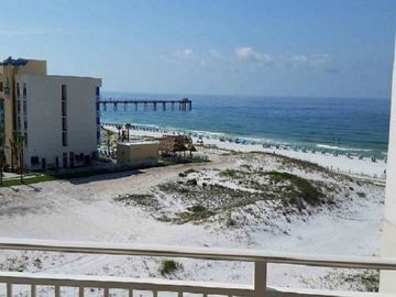 Okaloosa Island condo rental - View of Gulf, beach, & Okaloosa Island Pier from balcony