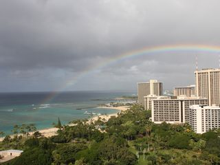 Honolulu condo photo - Without rain there would be no rainbows. Even on a rare rainy morning...Lovely