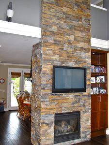 Two Sided Floor to Ceiling Fireplace (17ft tall)
