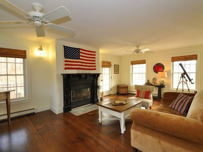 Livingston Manor house rental - The living room is wonderful for relaxing, enjoying a fire and conversation.