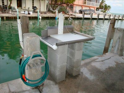 Fish cleaning station & water access...under a shaded area!