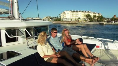 Key West yacht rental - Having cocktails on the forward seating area