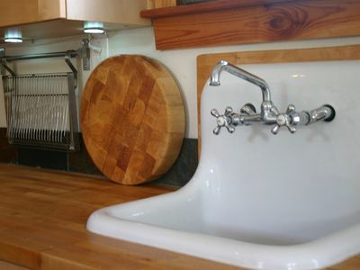 Butcher Block Counter Top, Antique Wahboard Sink