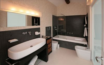 bathroom with the bath tub