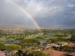 Lahaina condo photo - Golf Course & Mountain View with Rainbow from Lanai