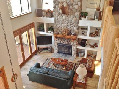 Great Room with 30 foot fieldstone fireplace