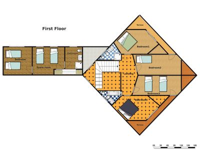 Layout of First Floor in villa
