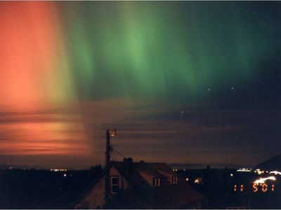 Northern Lights from hot tub, looking north over our shop roof.