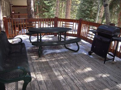 Four O'Clock Breckenridge condo rental - Barbecue deck area outside of the pool & hot tub house