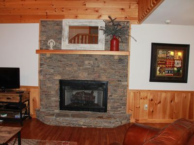 Stack Stone Gas Fireplace and Flatscreen with Satellite, DVD, and free Netflix