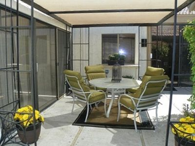 Private Patio with serving window& counter, sun shade, large BBQ