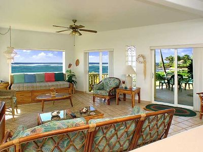 Spacious living room area with fantastic views of the ocean and seating for all