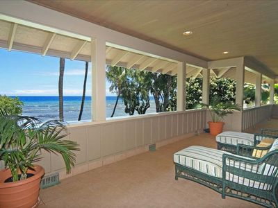 The Upstairs Lanai with an expansive ocean view of Maui
