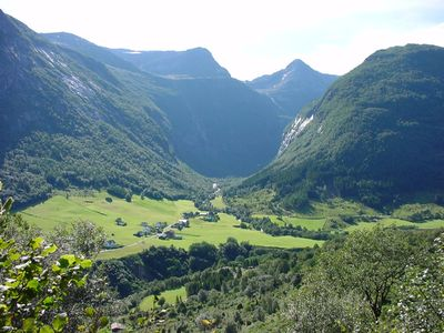 Sogn og Fjordane cabin rental - View of the farm from one of the walking trails