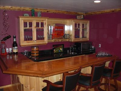 Bar in Gameroom with sink, microwave and frig