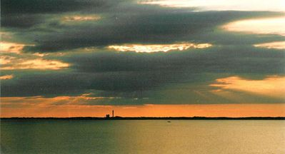 sunset behind Pilgrim monument