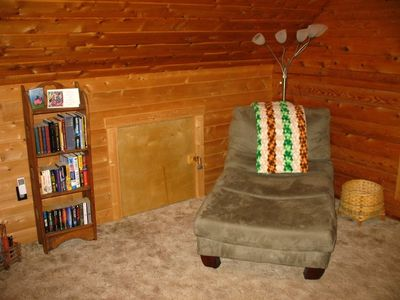 Sink into our Loft's fluffy Chaise Lounge with your favorite book!