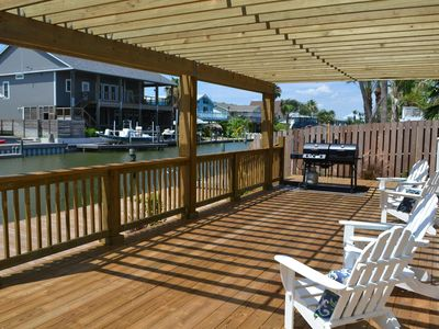 Relax and enjoy the view while you grill on the lower deck