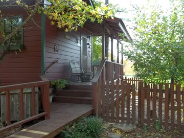Fort Smith cabin rental - Side deck by parking
