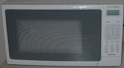 Microwave oven for quick hot meals such as Jamaican patties in 60 seconds.