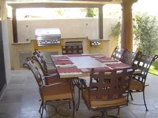 Palm Springs villa photo - Patio Table, BBQ with Stove and Refrigerator