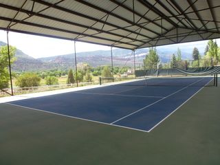Durango farmhouse photo - A covered private tennis court for your enjoyment in the pasture