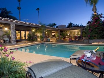 Other Scottsdale Properties estate rental - Main Patio features pool & spa, gas BBQ, dining for 12, fireplace, bar, fountain
